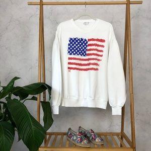 Vintage 80s White American Flag Graphic Sweatshirt
